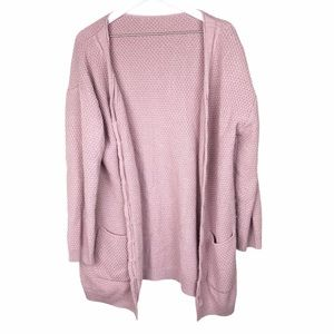 Sweaters - Mauve Chunky Knit Open Front Cardigan Sweater